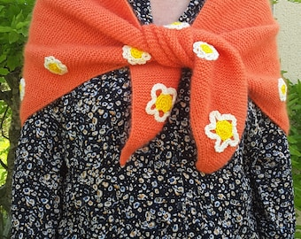 Knitted shawl, scarf handmade decorated with flowers shawl is handmade, shawl with flowers.