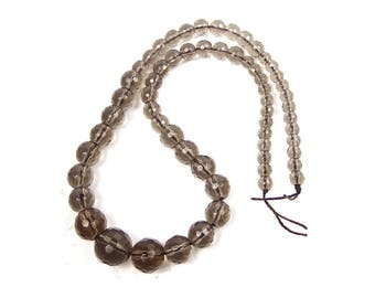 5-13mm Natural Smoky Quartz Graduated Faceted Round Beads Full 17 inches strand (e7940)