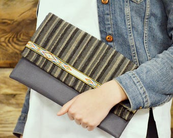 Gray evening clutch - Striped boho clutch - Eco friendly clutch purse - Ethnic bridesmaid clutch - Gray bohemian clutch - Striped purse