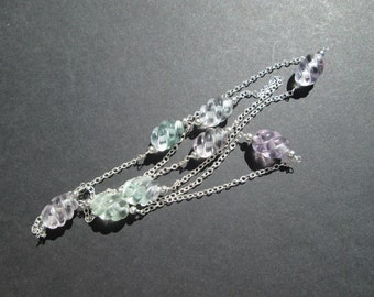 Carved rainbow fluorite infinity necklace- argentium silver chain