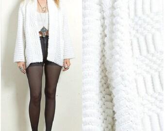 Vintage 90s BOHO hippie white knit textured shirt sweater cardigan