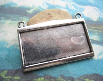 HEAVY --4pcs  49x35mm antiqued silver plated rectangle bezel pendant blanks(fit 45x22mm cabochons)