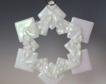 BAUBLES Crystalline White Iridized Snowflake, Fused Glass Ornament Suncatcher