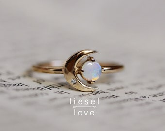 "14K ""Moon of My Life"" Opal & Diamond Ring, Diamond Ring, Night Sky, Astrology Jewelry, Opal Ring, October Birthstone, Moon and Star, Minimal"