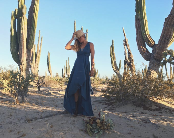 Prussian Indigo Blue TULIP Hem Long Octopus Convertible Wrap Gown- Converts to Strapless, Backless, Grecian