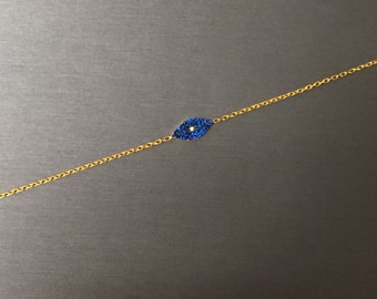 Modern Blue Eye Bracelet-Gold