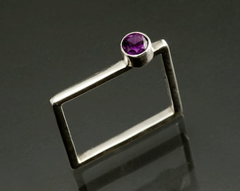 Amethyst Stacking Mothers Square Ring birthstone