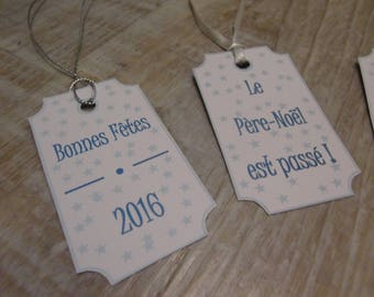 4 tags for gifts - set B - Theme Christmas blue and white