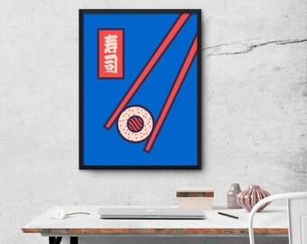Sushi Minimal Japanese Food Chopsticks Poster Wall Art Print