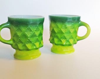 Two Vintage Fire-King Anchor Hocking Kimberly Diamond Pattern Oven Proof Mugs in Ombre Green over Milk Glass
