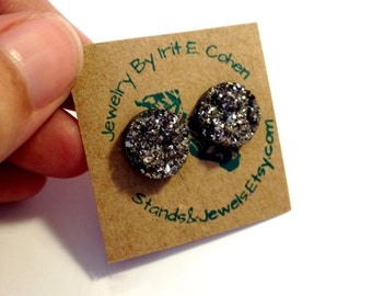 Cute Stud Earrings - Dark Silver - Sparkling Faux Druzy Stone