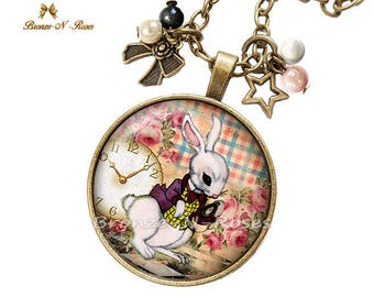 "Pink Alice in Wonderland cabochon necklace ""White rabbit to watch"""