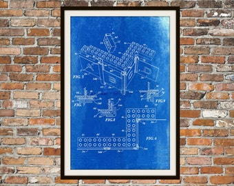 Lego Patent - Blueprint Art of a Lego Brick Technical Drawings Engineering Drawings Patent Blue Print Art Item 0128