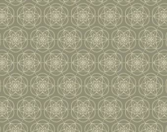 Floral Gem Tucso Mandala Flower Grey Geometric Cotton Fabric from the Florabelle Collection by Joel Dewberry for Free Spirit Fabrics