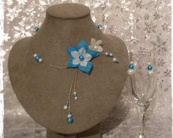 White turquoise Silk Flower Adornment
