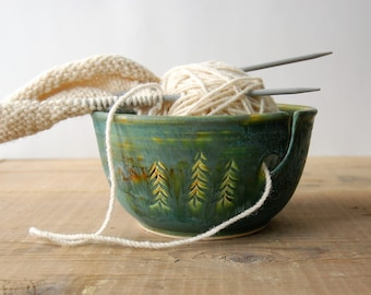 Emerald green Ceramic Yarn Bowl, Three Pines crochet bowl,  pottery wool bowl, knitter's bowl, knitting and crochet accessory, handmade