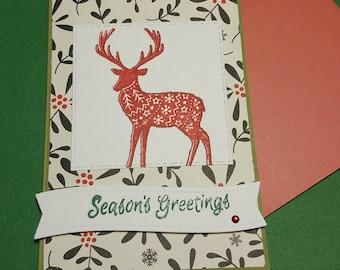 Raindeer Holiday Card- Greetings Card- Christmas Card- Just a Note Card- Welcome Holiday Seasons