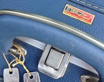 Vintage Blue Suitcase Jet Stream Luggage w/ Keys Locking Travel ~ #4013