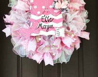 Deluxe Personalized Pink Burlap Butterfly Baby Wreath, Hospital Door Wreath, Newborn Announcement, Butterfly Wreath, Baby Hospital Door Sign