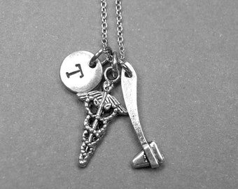 Caduceus Necklace, reflex hammer necklace, doctor necklace, medical, physician necklace, personalized necklace, initial necklace, monogram