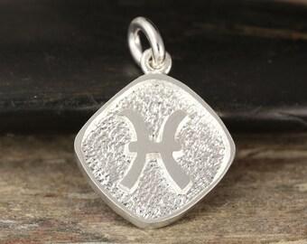 Pisces zodiac pendant in sterling silver - double sided, fish, pisces necklace, zodiac necklace, zodiac jewelry
