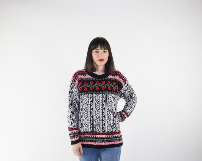 Vintage Sweater | 80s Fairisle Pullover | Cute Knit Top | Size Large