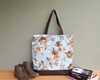 Oversized Floral Tote in Blue and Sepia, Sky Blue Shoulder Tote Bag with Large Flowers, Extra Large Waxed Canvas Bottom Tote, USA Market Bag