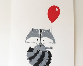 Raccoon with a Balloon Screen Printed Illustration