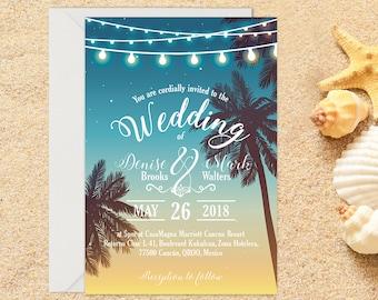 Printed Beach Wedding Invitation,  Destination Wedding, Beach Wedding, Tropical Wedding, Printed Invitation, Wedding invitation