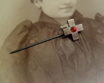 PIN, badge, cross with small glitter stone