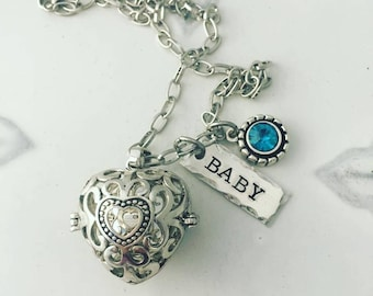 Birthstone Harmony Ball Necklace - Pregnancy Ball - Heart - Personalized Hand Stamped Jewelry - Necklace Pregnancy Maternity Angel Caller