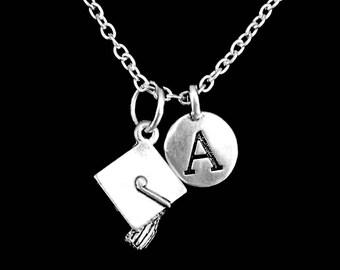 Graduation Gift, Graduation Necklace, Graduation Cap Intitial Necklace, Graduate Class Of 2017 Charm Necklace