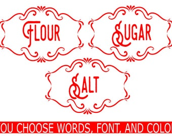 labels for cannisters, label for cannister, Cannister labels, Kitchen labels, labels for jars, decals for kitchen, labels kitchen container