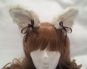Kitten / Pet / Play / Faux / Fur / Clip On / Ears / Brown Bows / Purple / Bells / Gear / Furries / Cosplay / Cat / Dog / Wolf / Anime / BDSM