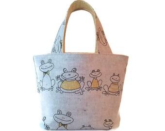 Lemony Frogs... – Little Girls Handbag / Kids Frog Handbag / Kids Frog Purse / Little Girls Purse / Toddlers Tote / Little Girls Tote