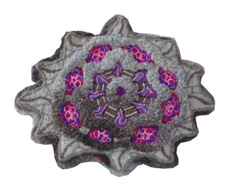 Get thee to a nunnery - embroidery sculpted floor cushion or wall art (David Wolfe, 2014)