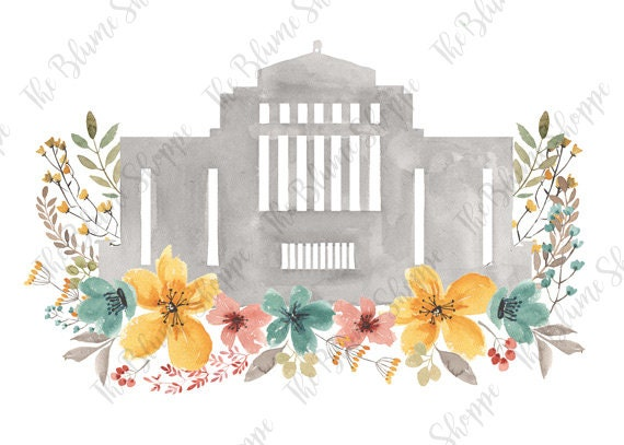 Cardston Temple Vintage Floral