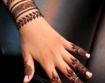 Henna Hand Gold Temporary tattoo designs