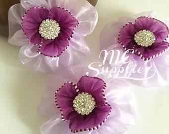 Ribbon flowers,purple flowers,flower girl flowers,hair clip accessories,hair flowers,headband flowers,fabric flowers,baby headband flower.