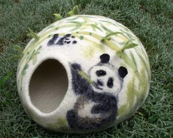 Luxury merino wool cat house. Panda Cat Nap Cocoon. Cat cave bed. Sleep Vessel. Hand Felted Wool. Handmade OOAK