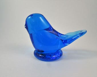 Vintage Glass Bird Blue Bird of Happiness Made in USA Signed by Leo Ward 1995 Azure Blue Glass Bird Paperweight