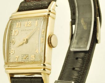 "Hamilton grade 980 vintage wrist watch, 17 Jewels, yellow gold (filled) rectangular Hamilton ""Lester"" smooth polish case"
