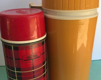 Vintage metal red plaid and plastic golden yellow thermos set