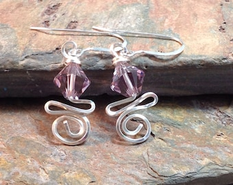 Wire Wrapped June Swarovski Birthstone Earrings