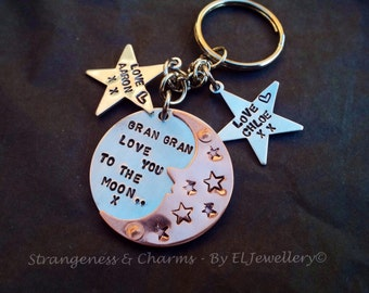 Hand stamped 'Love You To The Moon' Keyring, Handmade,Stars,Jewellery, Hand Stamped, To The Moon, Personalised, Aluminium,Copper.