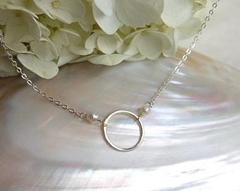 """Simply """"O"""" with Pearls on Sterling Silver Chain"""