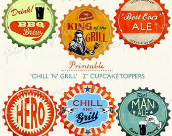 retro Beer and Barbecue 2 inch circles digital collage sheet