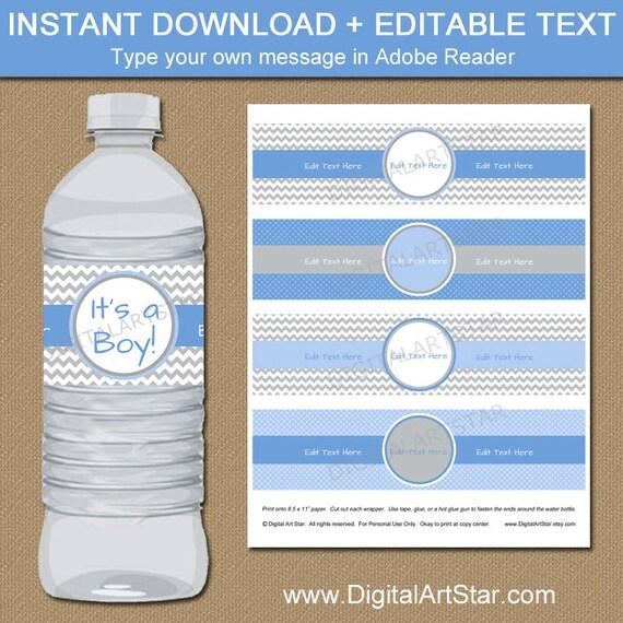Baby Boy Water Bottle Labels DIY Printable Baby Shower Water