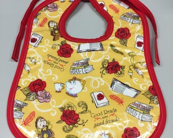 Wipeable Baby Bibs - Beauty and the Beast
