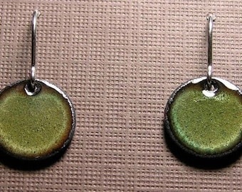 Enamel Earrings, Green Copper Enamel Jewelry, Sterling Silver French Hook Earwires, Olive Green, Handmade Earrings